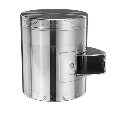 🐼 🐶 Metal Tobacco Herb Grinder 4 Layers - Side Open For Easy access - Dope Smokes Silver, Silver,