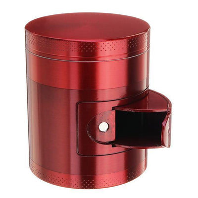 🐼 🐶 Metal Tobacco Herb Grinder 4 Layers - Side Open For Easy access - Dope Smokes Red, Red,