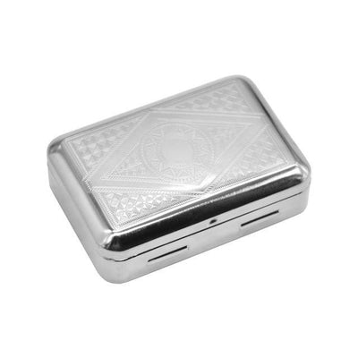 🔥 💨  Metal Tobacco Box Storage Pocket Size (80mm*55mm)  For 70MM Papers Tin Metal Case - Dope Smokes Silver Color, Silver Color,