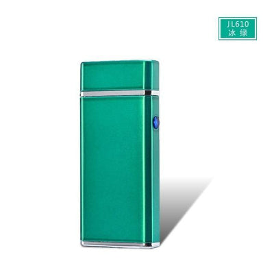 🐼 🐶 USB Electric Double Arc Rechargeable Windproof Lighter - Dope Smokes Ice Green, Ice Green,