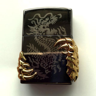 🔥 💨  Retro Dragon Metal Flip Style Lighters - Dope Smokes gold black silver, gold black silver,