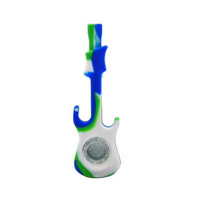 🔥 💨  HORNET Electric Guitar FDA Tested Silicone Smoking Pipe - Dope Smokes Blue-White-Green, Blue-White-Green,