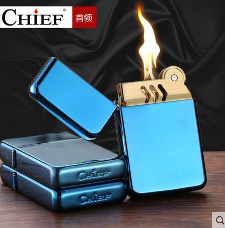 🔥 💨  Vibrant Blue Metal Ultra-thin Kerosene Lighter - Dope Smokes [variant_title], [option1],