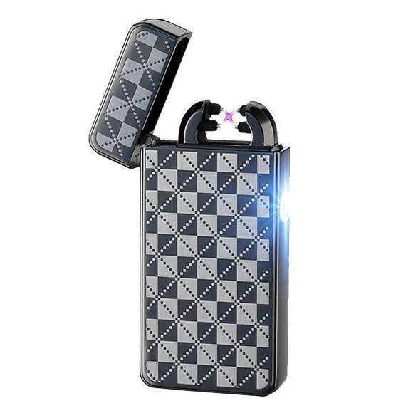 🔥 💨  Black Checkered Rechargeable Windproof Lighter - Dope Smokes Default Title, Default Title,