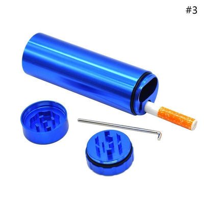 🔥 💨  1PCS One Hitter and Travel Kit and Case for Bud with Grinder - Dope Smokes Blue, Blue,