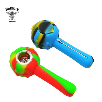 🔥 💨  Herer Round FDA Tested Silicone Smoking Herb Pipe 115MM Glass Bowl - Dope Smokes [variant_title], [option1],