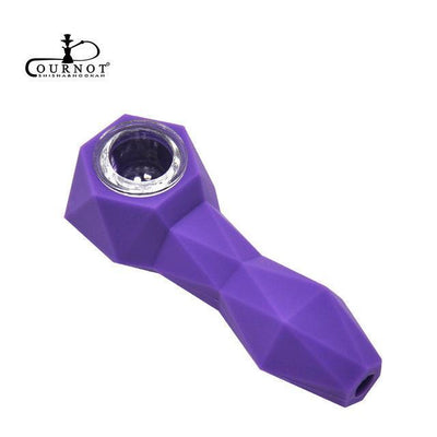Geometric Shape FDA Silicone Smoking Herb Pipe and Glass Bowl - Dope Smokes Quality Cannabis Products