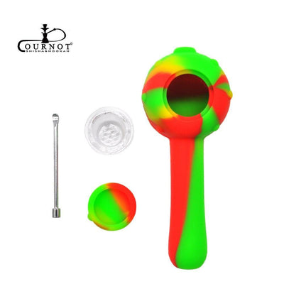🔥 💨  FDA Silicone Smoking Herb Pipe 115MM Glass Bowl With Wax Oil Spoon And Storage Unbreakable Pipe - Dope Smokes [variant_title], [option1],