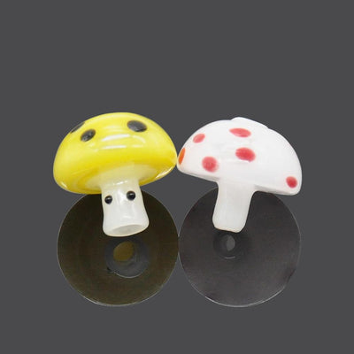Red and White Mushroom Glass Carb Cap Colored Vented Dome Carb Capper