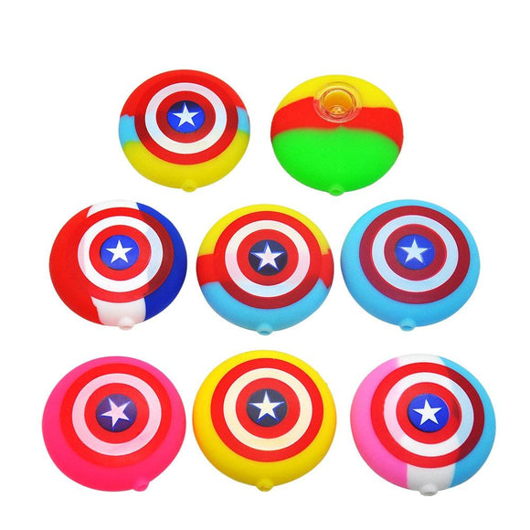 🔥 💨  Captain America Shield FDA Silicone Smoking Pipe Stars and Stripes Hand Pipes - Dope Smokes [variant_title], [option1],