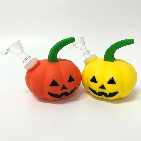 🔥 💨  Jack-O-Lantern Pipe Silicone Hand Pipe Water Pumpkin Bong - Dope Smokes [variant_title], [option1],