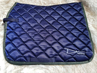 DM Navy Satin Quilted Saddle Pad
