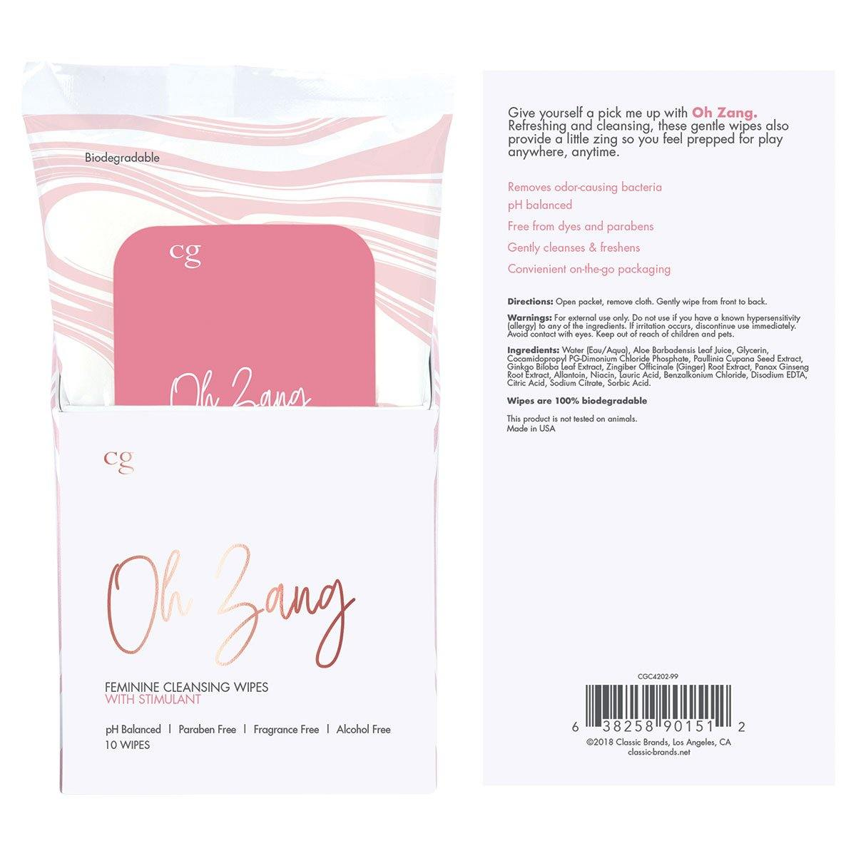 Crazy Girl Oh Zang 10pc Disp Stimulating Wipes [A01898]
