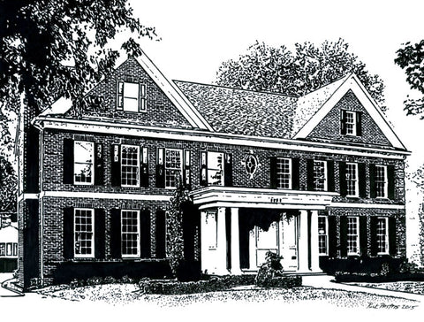Pen and Ink of a Mountain Brook house