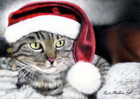 Tabby Cat with a Santa Hat, 6 Folded Note Cards with matching envelopes.