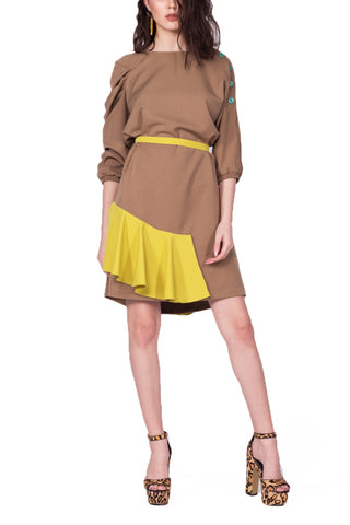 d248.ro - I See Stars - Rochie WAVES Camel