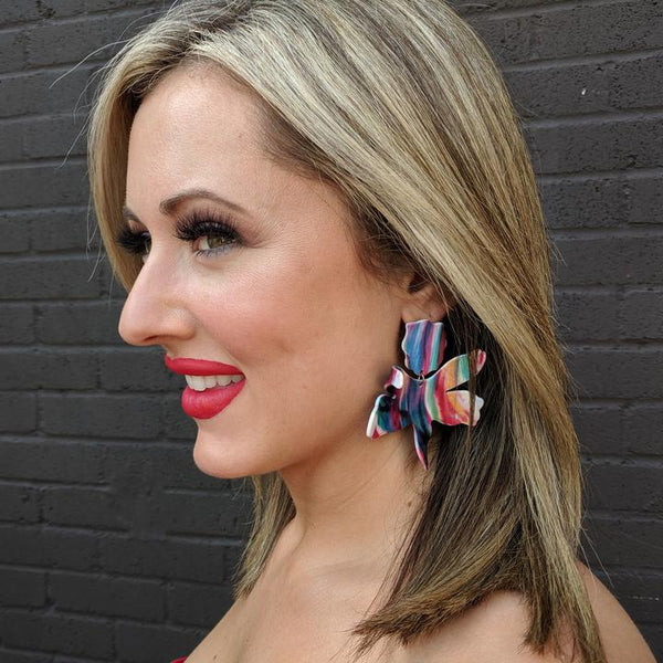 Acrylic Colorful Floral Earrings