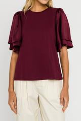 Burgundy Chiffon Ruffle Sleeve Top