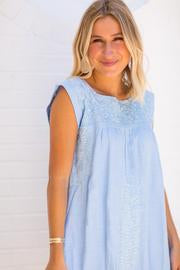 J.Marie The Eliza Dress Light blue embroidered