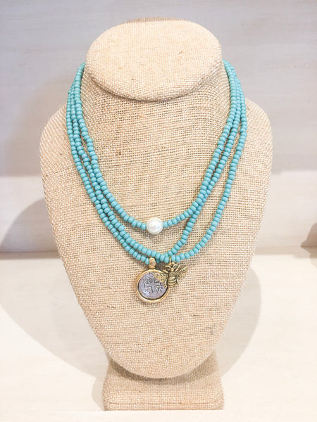 Beaded Stretch Necklace Trio in Turquoise with Assorted Charms