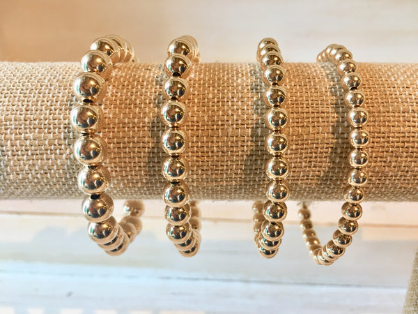 Gold Filled Beaded Stretch Bracelet - Various Sizes