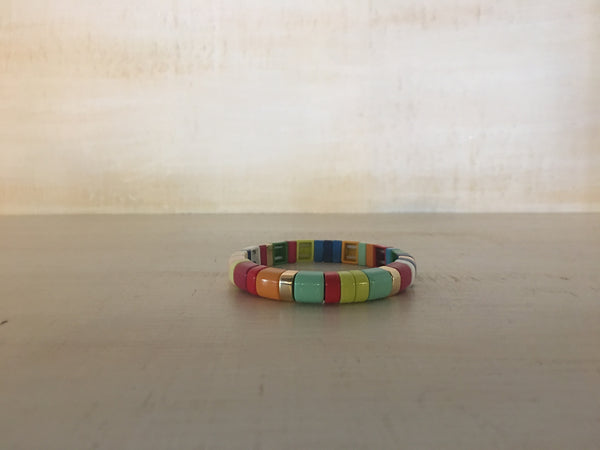 Rounded Rainbow with Gold Enamel Bracelet