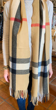 Load image into Gallery viewer, Cashmere blend plaid scarf