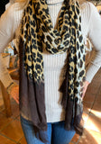 Leopard print Silk and Cashmere scarf with color dipped ends.