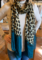 Leopard print Cashmere and silk scarf with color dipped ends.