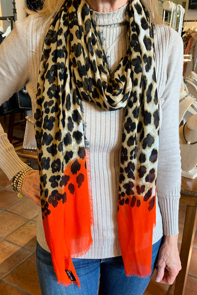 The Midi Leopard print Silk and Cashmere scarf with color dipped ends.