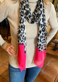 Leopard print silk and cashmere scarf