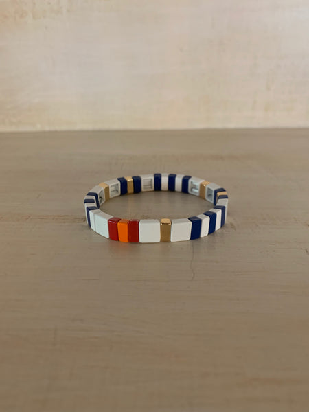 White, Blue and Gold Enamel Bracelet