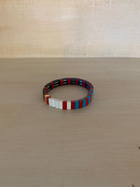 Red, Blues, White and Black Enamel Bracelet