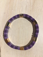 Load image into Gallery viewer, Purple and Gold Enamel Bracelet