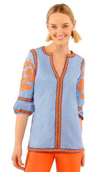 Gretchen Scott Glorious Gingham Cotton Embroidered Top