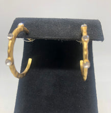 Load image into Gallery viewer, Large Brushed Gold Hoop with CZ Earring
