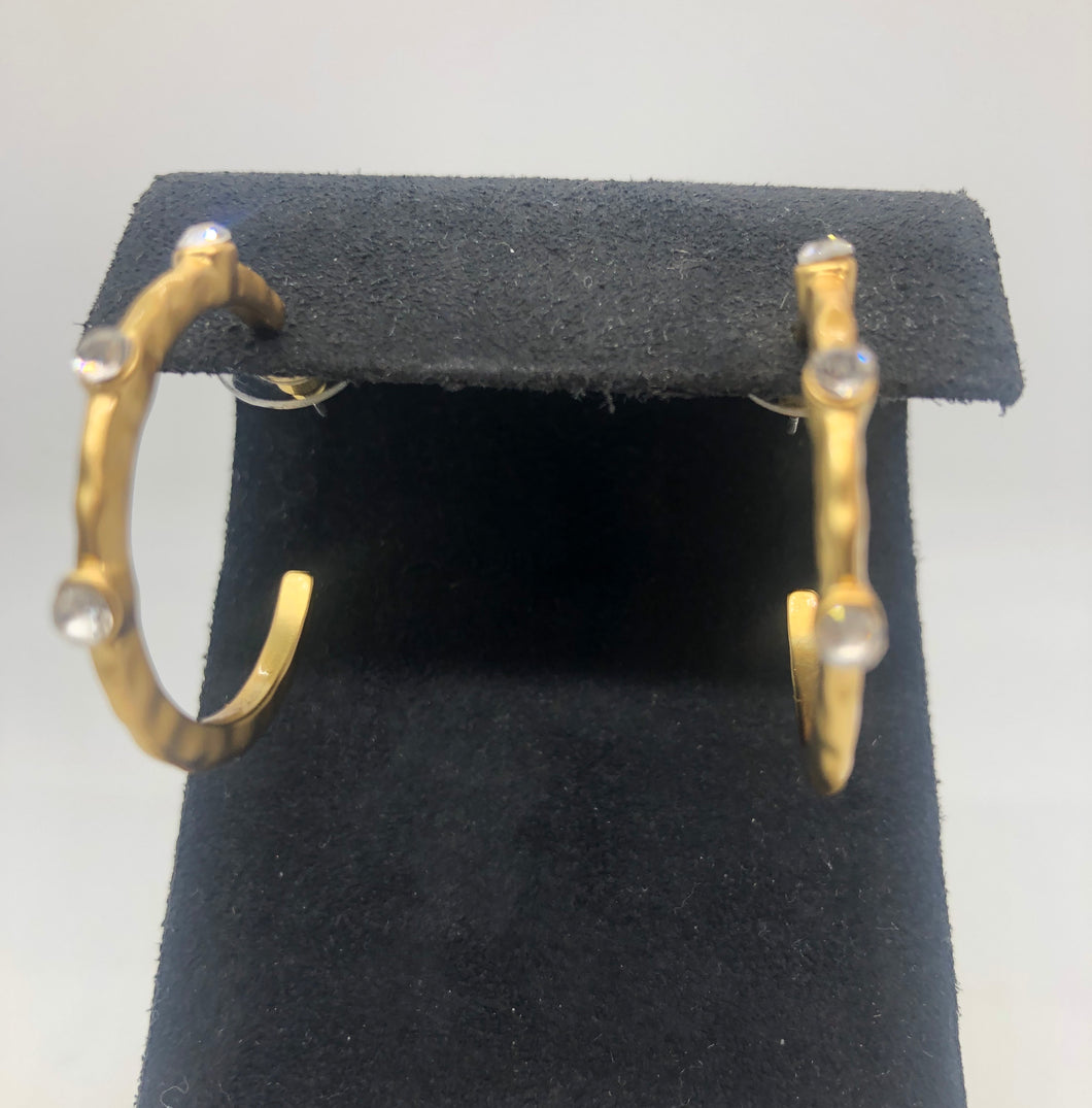 Large Brushed Gold Hoop with CZ Earring