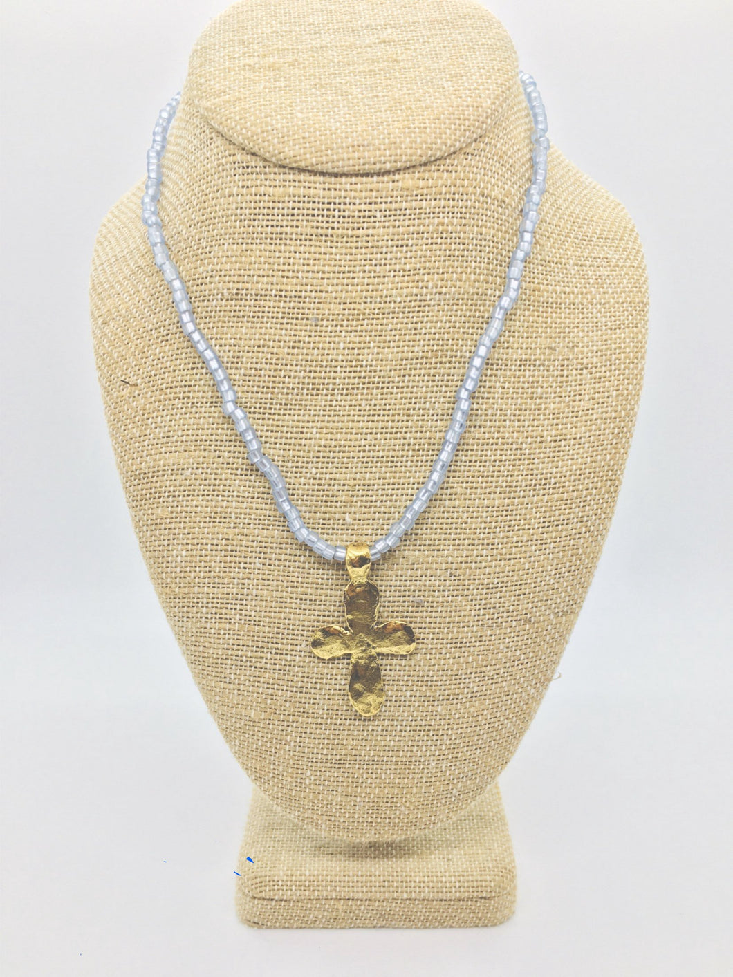 Large Gold Cross Beaded Stretch Necklace