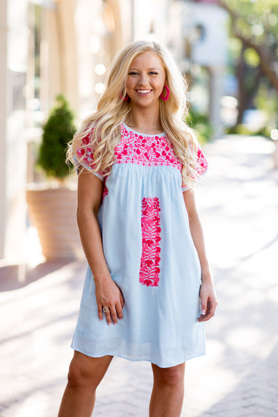 J.Marie Caroline Dress Lt. Blue/Pink Embroidery