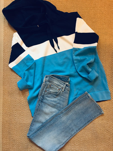 Yest Blue, White and Light blue color block Hoodie lightweight Sweater