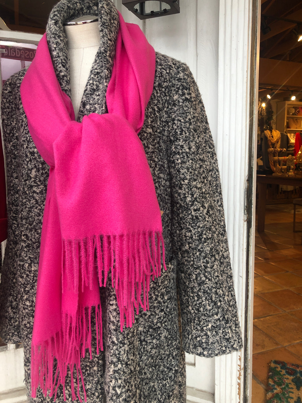Pink Scarf with Fringe