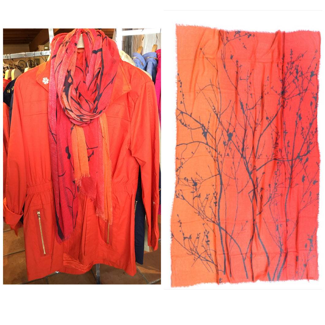 Silk and Cashmere scarf - Orange Trees
