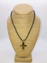 Load image into Gallery viewer, Large Gold Cross Beaded Stretch Necklace