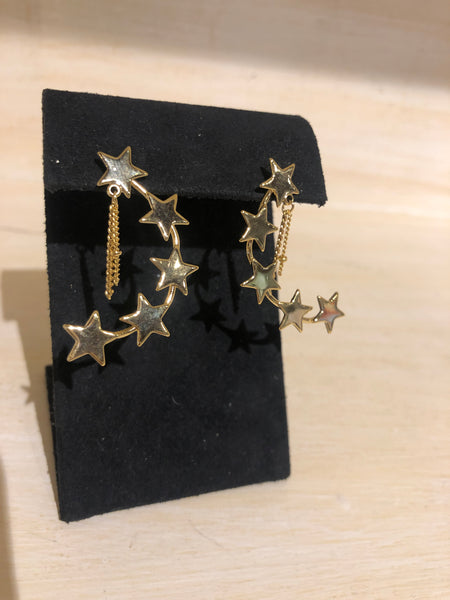 Crescent Moon Star Earrings in Gold