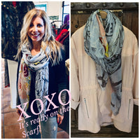 Silk and Cashmere scarf - XOXO Postcard Print