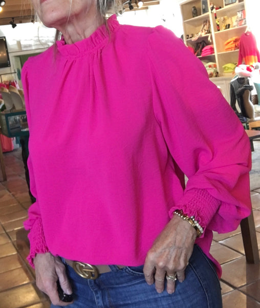 Hot Pink Ruffle High Neck Top with puff Sleeves