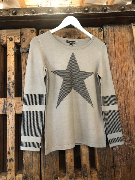 Metric Light Grey Star Sweater