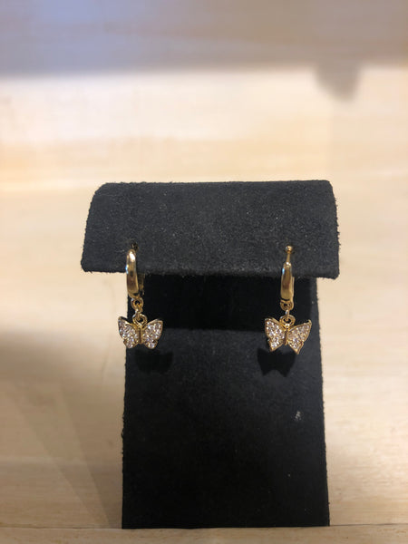 Butterfly CZ Drop Earring