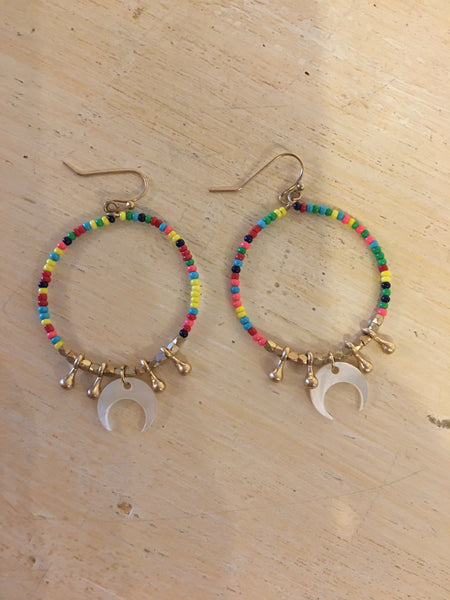 Multi colored beaded Hoops with half moon charm Earrings