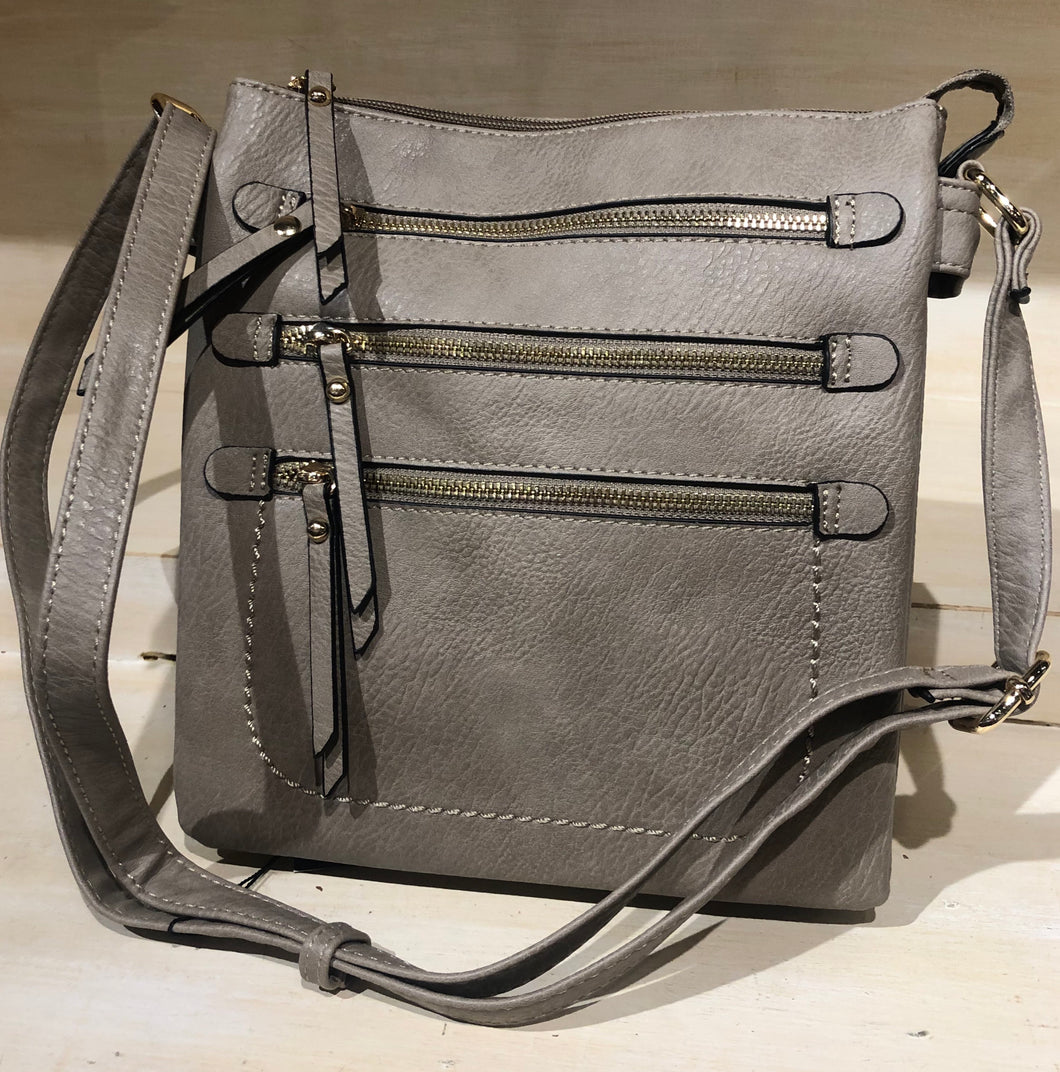 Taupe 3 Zipper Crossbody (concealed Hand gun bag)